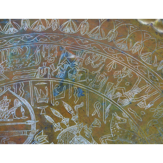 Brass 20th Century Moroccan Brass Table Tray on Stand For Sale - Image 7 of 12