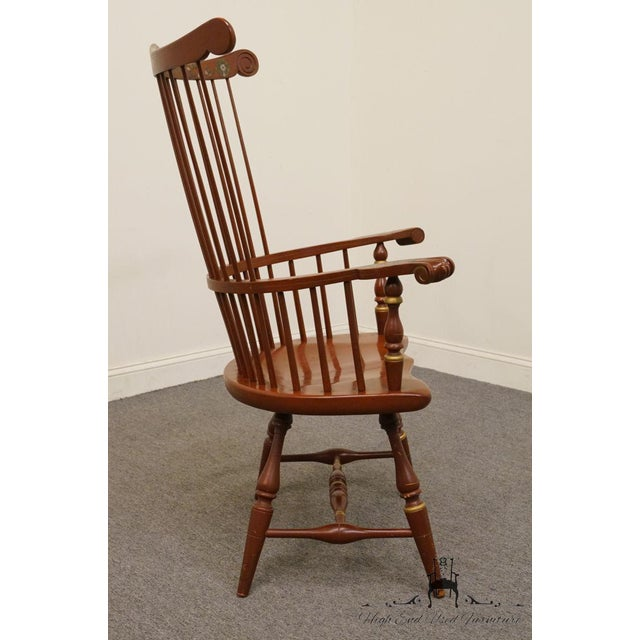 20th Century Traditional Ethan Allen Hitchcock Stenciled High Back Windsor Accent Chair For Sale - Image 9 of 13