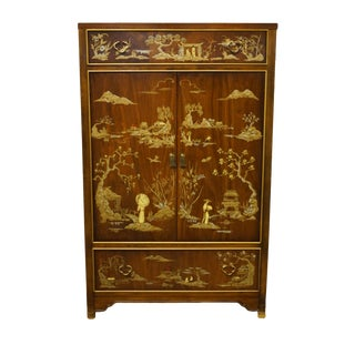 "Dixie Furniture Asian Inspired Chinoiserie 38"" Armoire For Sale"