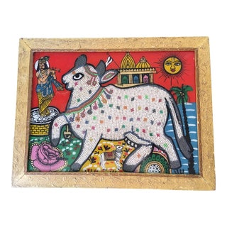 Beaded Indian Sacred Cow Eglomise Painting