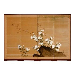 Japanese Four Panel Silk Byobu Screen of Chrysanthemums