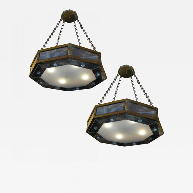Contemporary André Hayat Pair of Octagone Chandelier in Bronze and Eglomisé Mirror For Sale - Image 3 of 3