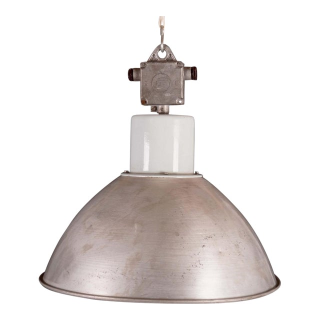 Large Czech Industrial Hanging Lamp in Gray, 1960s For Sale