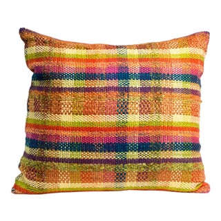 Hand-Woven Plaid Pillow For Sale