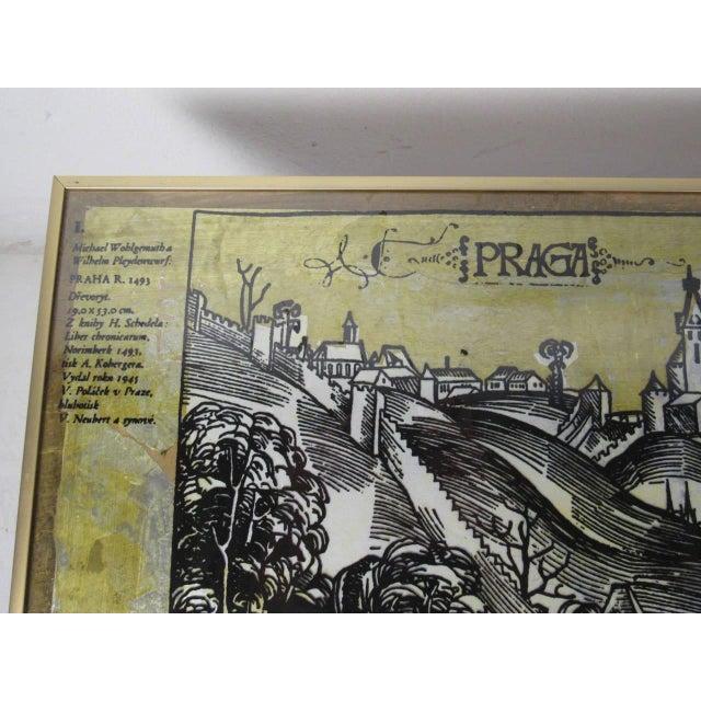 Vintage Modern Coffee Table, Artist Illustration of Praga For Sale - Image 5 of 7