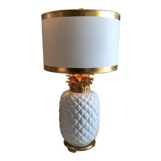 White Ceramic Pineapple Lamp With Shade For Sale