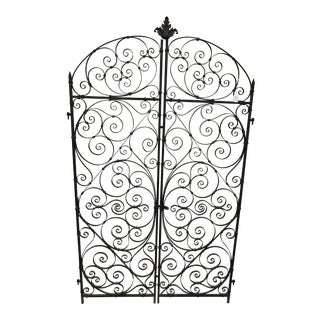 1940s Vintage Solid Iron Garden Gates With Scroll For Sale