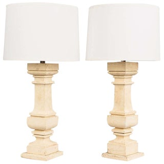 Painted European Wooden Lamps - A Pair For Sale