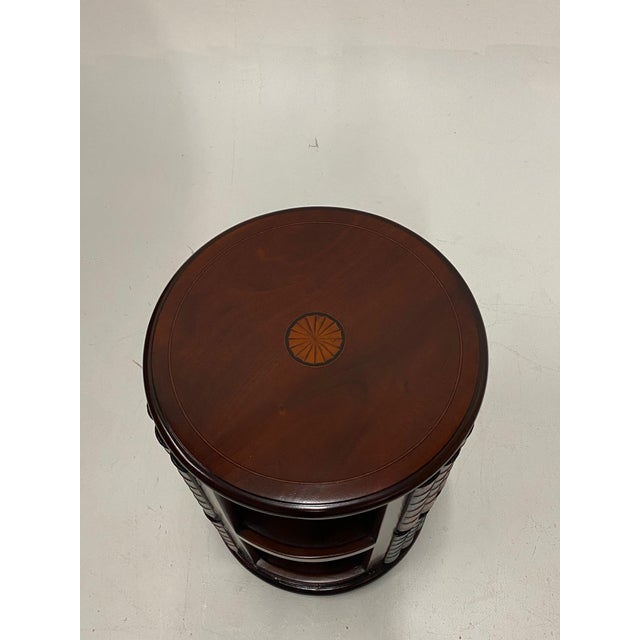 Mahogany and Leather Revolving Book Motife Cabinet For Sale In Philadelphia - Image 6 of 9