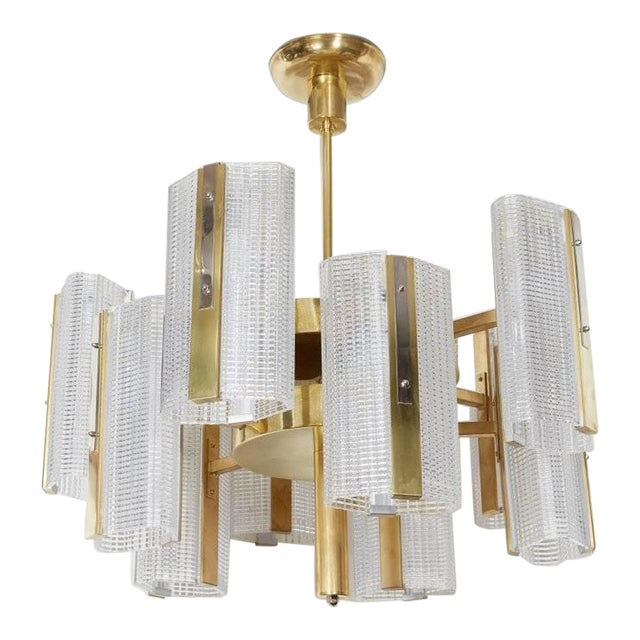 Kalmar Modernist Brass and Glass Ten-Arm Austrian Chandelier For Sale