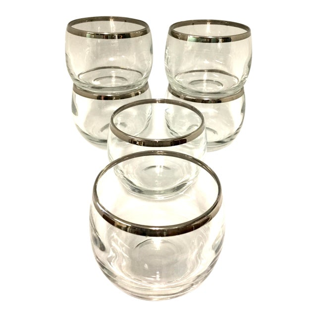 1960s Dorothy Thorpe Small Highball Silver Rim Glasses - Set of 6 For Sale