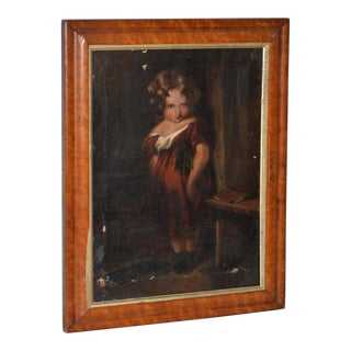 "19th Century Oil Painting ""The Naughty Child"" After Sir Edwin Landseer For Sale"