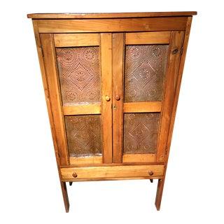 1920s Rustic Wooden Pie Safe Cupboard