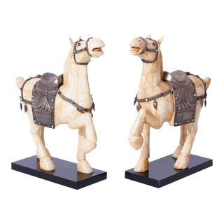 Midcentury Chinese Bone Horses - A Pair For Sale