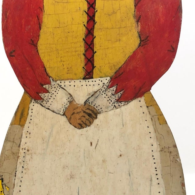 Folk Art Folk Art Dutch Woman Hand-Painted Wooden Doorstop For Sale - Image 3 of 13