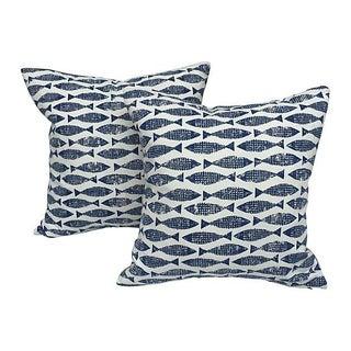 Japanese Blue & White Block Print Fish Pillows