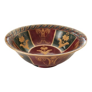 Andrea by Sadek Gold Green Maroon Fleur De Lis Design Decorative Bowl For Sale