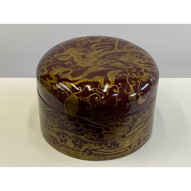 Maitland Smith Red Lacquer & Giltwood Box For Sale - Image 10 of 10