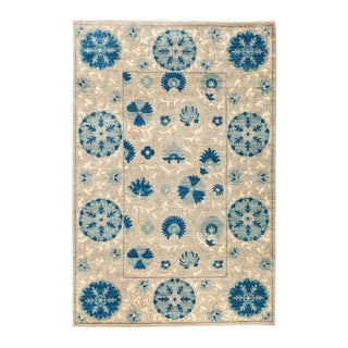 "Persian Suzani Style Blue Hand-Knotted Wool Rug- 5' 3"" X 7' 9"" For Sale"
