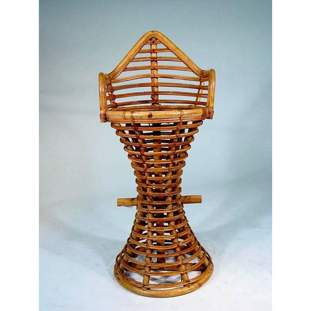 Restored Stick Rattan Bar Stools in the Manner of Albini, Set of Three - Image 3 of 6