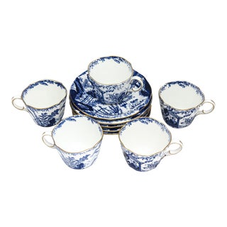"""5 Royal Crown Derby """"Mikado"""" Cups and Saucers - 10 Pieces For Sale"""