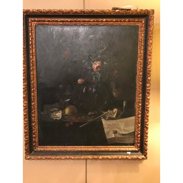 A 19th century finely painted oil on canvas German in an ebony and gilt frame. This German painted signed and bearing a...