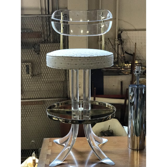 Charles Hollis Jones Charles Hollis Jones Lucite and Brass Bar Stools - a Pair For Sale - Image 4 of 7