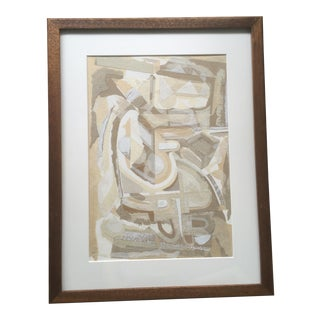 Vintage Mid-Century Modern Abstract Framed Mixed Media Collage For Sale