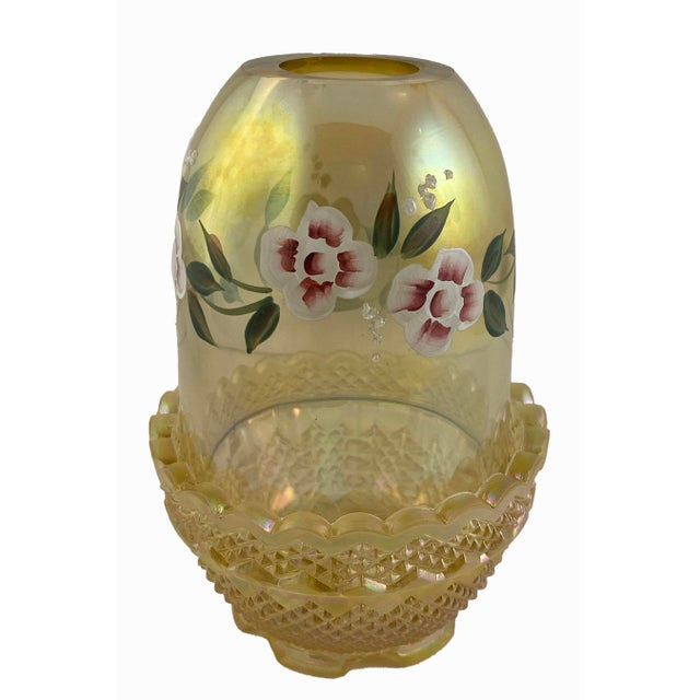 Mid 20th Century Mid 20th Century Fenton Art Glass Topaz Hand Painted Signed Fairy Light For Sale - Image 5 of 7