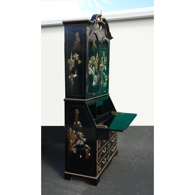 Black Vintage Chinese Asian Black Lacquer Chinoiserie Secretary Desk Hutch Hand Paint For Sale - Image 8 of 13