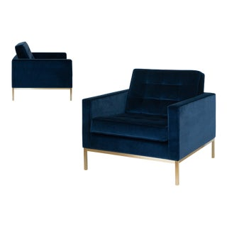 Florence Knoll Lounge Chairs in Navy Velvet With Brass Frames, Pair For Sale