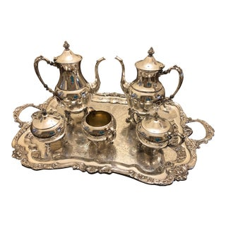 Mid-Century Large Silver Plate Coffee and Tea Service
