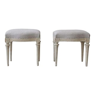 18th Century Swedish Gustavian Footstools in Original Paint by Melchior Lundberg - a Pair For Sale