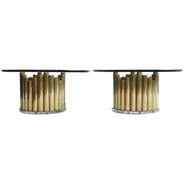 Brass and Lucite Cocktail or End Tables For Sale - Image 9 of 9