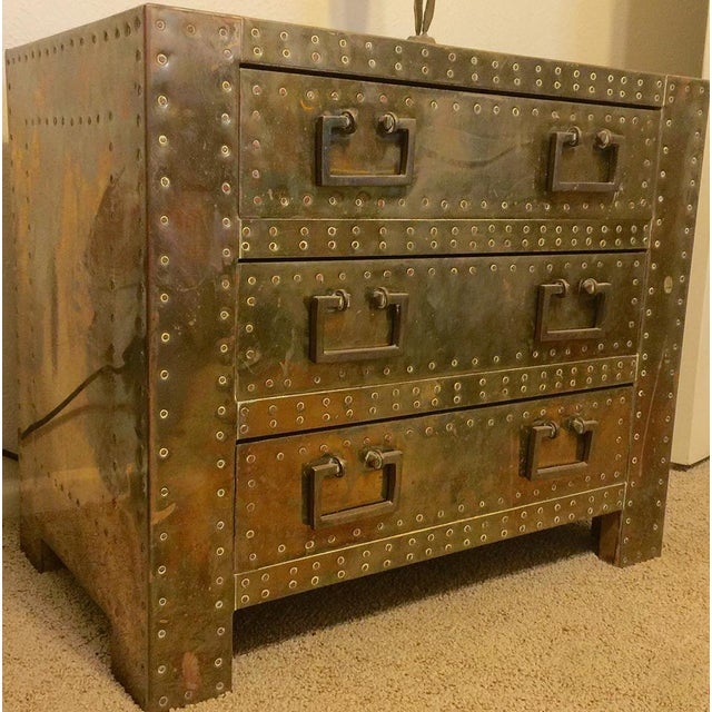 Sarreid Brass Clad Chest with Hand Hammered Nails - Image 3 of 3