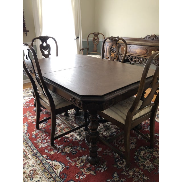 This is a beautiful, mint condition Berkey and Gay dining set. The dining set is characterized by cut corners with applied...