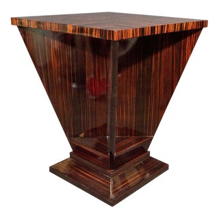 French Art Deco Cubist Occasional Table in Bookmatched Macassar For Sale