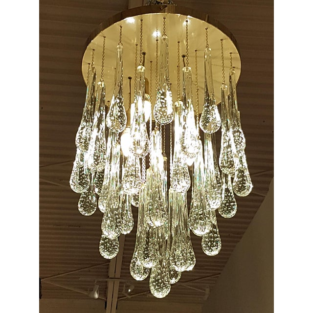 Mid Century Modern Brass & Murano Glass Drops Flush Mount Ceiling Light, Customizable For Sale In Dallas - Image 6 of 13
