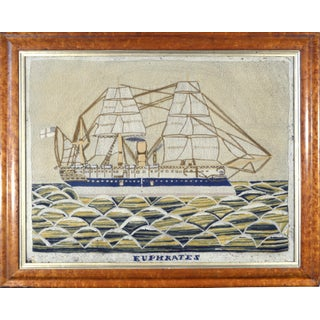 English Sailor's Woolwork Picture of Hms Euphrates For Sale