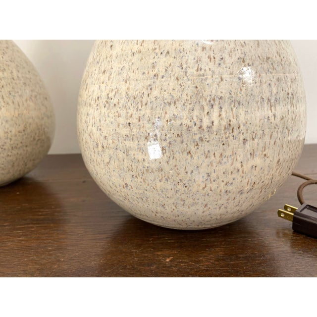 2020s Organic Modern Handmade Ceramic Table Lamps - a Pair For Sale - Image 5 of 11