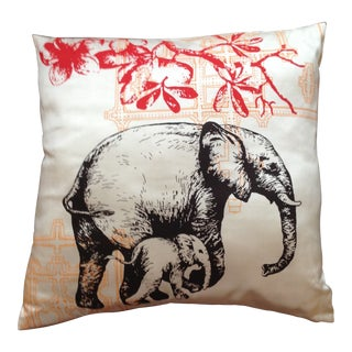Handwoven Silk White Elephant & Lotus Pillow Cover For Sale