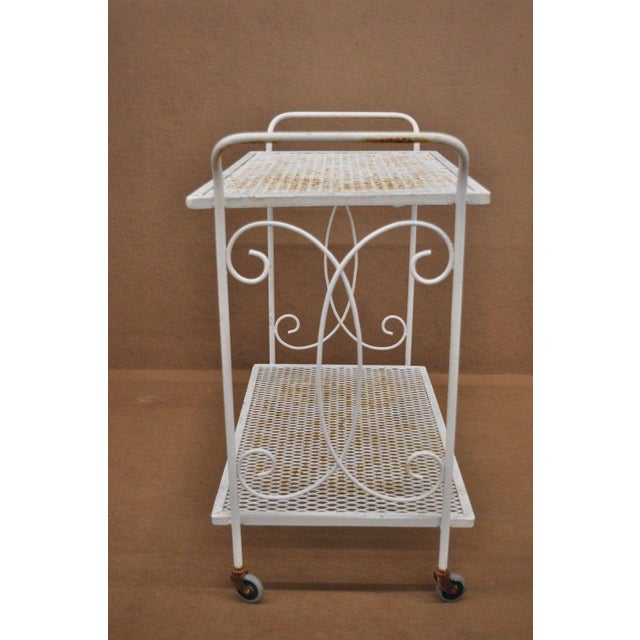 Mid 20th Century Vintage Wrought Iron Metal Mesh Patio Tea Cart For Sale - Image 5 of 12