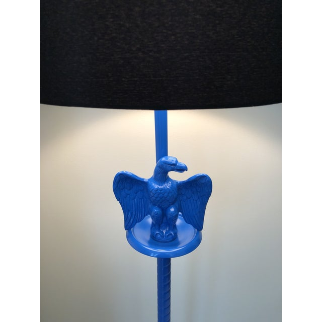 Vintage Royal Blue Federal Style Eagle Floor Lamp For Sale - Image 9 of 13