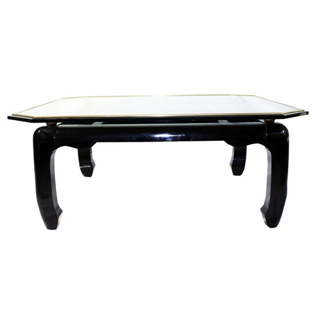 Asian Vintage Ming-Style Chinoiserie Black Lacquered & Gold Brass Coffee Table With Glass Top For Sale - Image 3 of 13