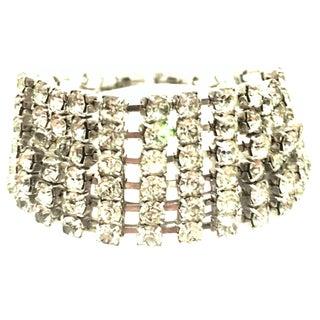 20th Century Art Deco Style Silver & Austrian Crystal Link Bracelet For Sale