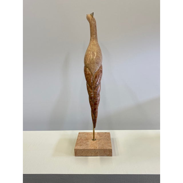 Tan Tessellated Stone & Brass Bird Sculpture For Sale - Image 8 of 10