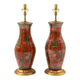 Chinoiserie Red Table Lamps - a Pair For Sale