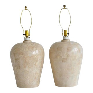1970s Postmodern Tessellated Stone Table Lamps - a Pair