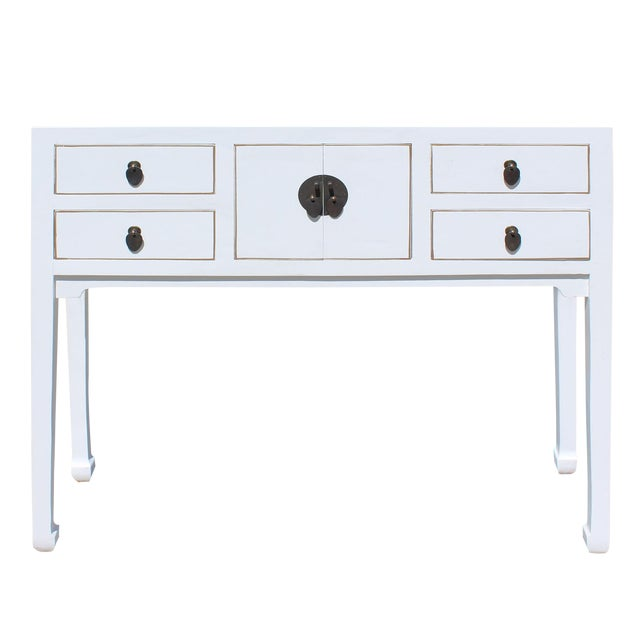 Chinese Oriental Rustic Off White Lacquer Drawers Side Table For Sale