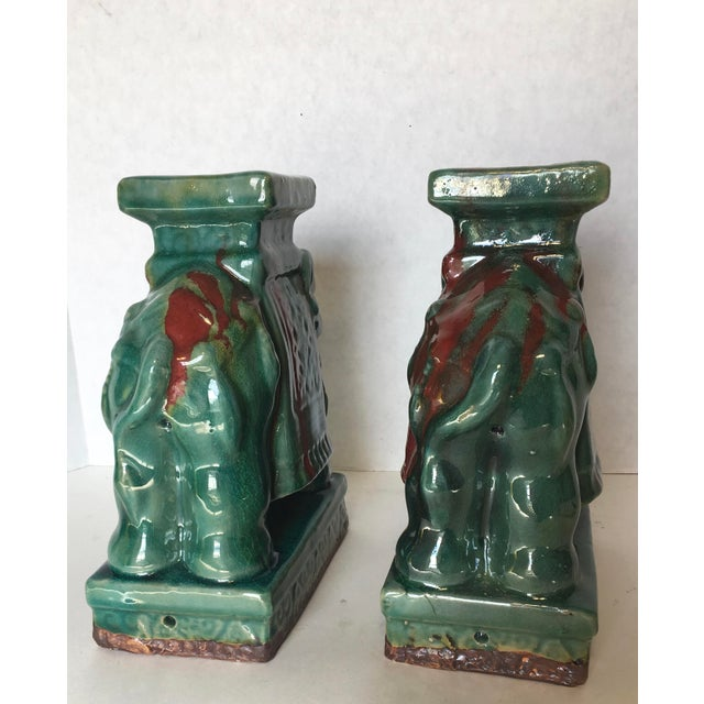 Drip Glaze Ceramic Elephant Statues - A Pair - Image 6 of 6